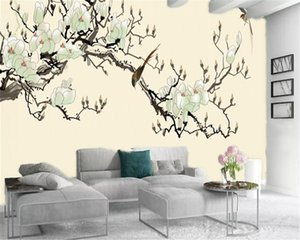 3d Wallpaper Chambre Plum Blossom Ouverture Magpie Spring Home Décor Salon Chambre Wallcovering HD Wallpaper