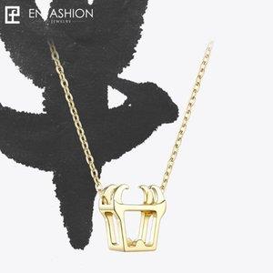 Enfashion Chinese Zodiac OX Halskette Bull Kopf Edelstahl-Ketten-Anhänger-Frauen Halsketten Schmuck Ras De Cou PFY183004-OX