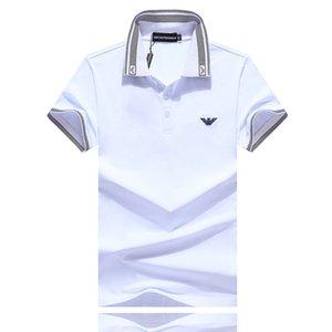 polo de los nuevos hombres del diseñador de la camiseta 2019 nueva camiseta del verano de rayas de color tamaño ocasional de polo de los hombres de los hombres de moda-m 3XL # 006