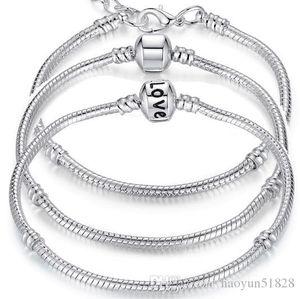Charm Bracelets 925 Sterling Silver 3mm Snake Chain Fit Pandora Charms Bead Bangle Bracelet Fashion Jewelry DIY Gift For Men Women