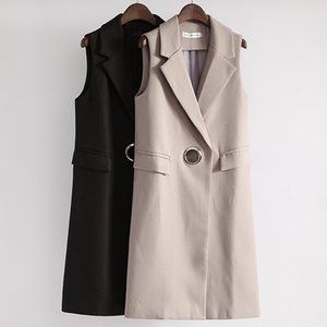 Mode-Taschen-Turn-Down-Kragen Weiblicher Weste Langer dünner Frauen-Weste Frühling Weibliche Ärmel Cardigan Weste-Klage-Mantel