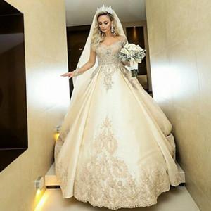 2020 magnífico Sheer manga larga Una línea de vestidos de novia de encaje apliques de cuentas vestidos de novia largo robe de matrimonio encargo más el tamaño
