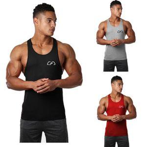 Hommes Gym Vêtements Sport Sans Manches Imprimer Fitness Culturisme Stringer Tank Muscle Top Maillots De Basket-ball
