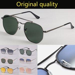 Top qualidade óculos de sol Ray desenhador marca óculos de sol óculos de tons para homens mulheres UV400 lentes de vidro com capa de couro livre 3648