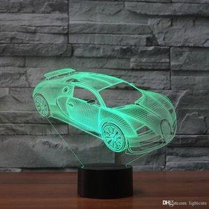 Bugatti Veyron 3D Illusion Gece Işığı Dokunmatik 7 Renk Değişimi Ev Dekorasyonu Bebek Kız Erkek LED Lamba Çocuk Hediye Noel Noel hediyeleri