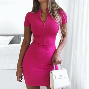 Front Zipper Stand Collar Short Sleeve Bodycon Dress Women Slim Elastic Knit Ribbed 2020 Summer Fashion Party Dress Streetwear