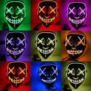 Halloween LED Mask Purge Masks Election Mascara Costume DJ Party Light Up Masks Glow In Dark 10 Colors To Choose