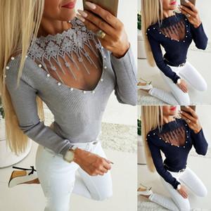 Automne Femmes Mode dentelle Top manches longues encolure ras du cou Slim Fit Chemisier Casual Shirt