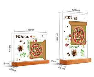 A6 나무 아크릴 액자 데스크 로그인 홀더 메뉴 스탠드 광고 포스터 프레임 예술 사진 프레임 레이블 홀더 테이블 가격 표시 랙