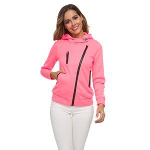2019 casual sweashirts women autumn and winter European and American hooded long-sleeved diagonal zipper Casual coat