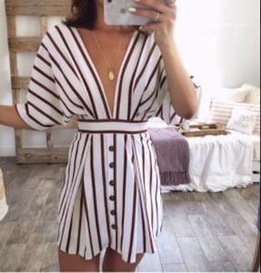 Designer Backless Strand-beiläufiges Kleid mit tiefem V-Ausschnitt Mode gestreiftes Kleid Frauen-Sommer-Verband
