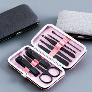 8Pcs Set Manicure Kit Nail Art Tools Multifunction Nail Clippers Set Stainless Steel Black Pedicure Scissor Tweezer For Gift