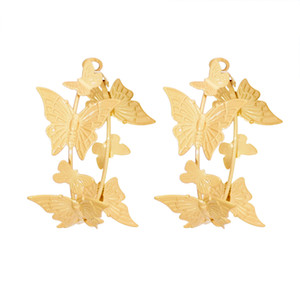 Fashion Ins Style Butterfly-shaped Gold Metal Hoop Earrings Statement Stud Earrings for Women Party Jewelry Gift