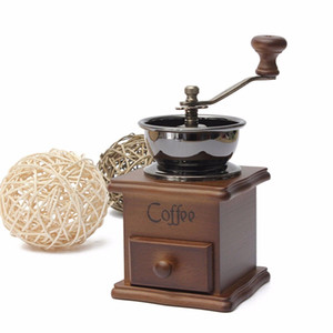 1pcs Classical Wooden Manual Coffee Grinder Stainless Steel Retro Coffee Spice Mini Burr Mill With High-quality Ceramic Millstone