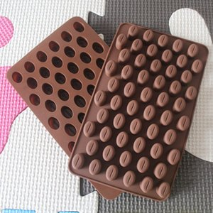 Food Grade Silicone 55 Grade Silicone Cake Molds 55 Cavity Mini Coffee Beans Chocolate molde do doce Bolo Mold DIY Baking Mold 18.5 * 11 * 1,4 centímetros