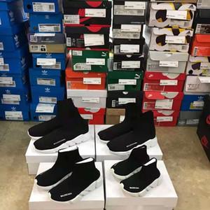 박스없이 2019 새로운 파리의 속도 러너 니트 양말 신발 원래 고급 트레이너 러너 스니커즈 레이스 아이의 스포츠 신발