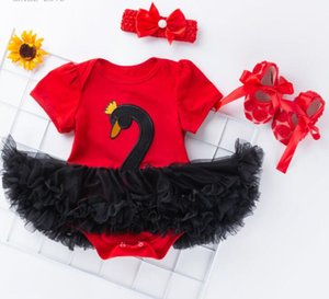 2019 spring and summer new girl baby swan short-sleeved dress skirt wholesale shoes three-piece suit baby's clothing