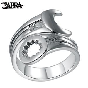 Zabra genuino pure 925 sterling silver cool wrench ring uomo regolabile retrò amore vintage punk anelli donne biker gioielli in argento t190627
