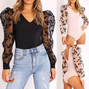 2020 New Lace Puff Sleeve Women's Bodysuit Spring Autumn Puff Sleeve Floral Vintage Bodycon Jumpsuit Tops Skinny Mesh Bodysuits