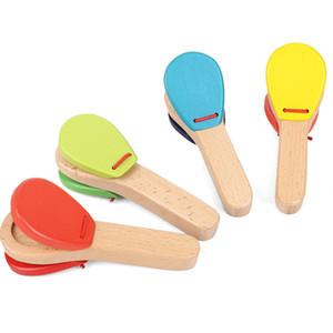 12CM مقبض خشبي الصنج قصاب خشبي المصفقون الأطفال الموسيقية قرع الصك الطفل في وقت مبكر التعليم ألعاب LA353