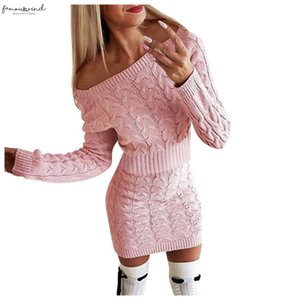 Sexy Off The Shoulder Dress Women Fashion Mid Autumn And Winter Womens Long Twisted Sweater Dresses Elegant Sundress Vestidos