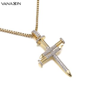 VANAXIN Nail Gold Silver Color Cross Jesus Necklace Christ Pendants Bling Bling CZ Fashion Jewelry For Women Hip Hop Charms Men