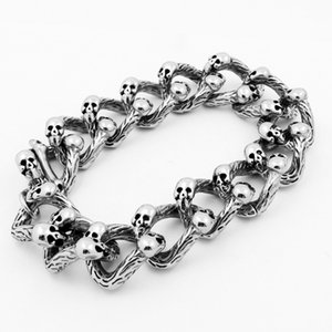 2020 New European and American Creative Totem Double Row Skull Titanium Stainless Steel Domineering Rock Punk Ghost Bracelet Jewelry Ring Us