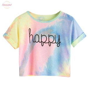 Happy Letter Printed Tie Dye Print Knot Casual Girls T Shirts Children 2020 Summer Cap Sleeve Colorblock Kids Casual Tees