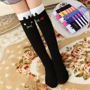 Bebê Joelho meias altas Meninas Striped Cat animal Meias Crianças Polka Dot dos desenhos animados longo meias de algodão Casual calças justas Princesa Leg Warmer C7140
