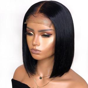 Предварительно сорванный короткий кружевной фронт с детскими волосами шелковистые прямые тупые вырезать боб полное кружево человеческие волосы парики Virgin бразильский для чернокожих женщин