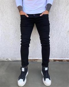 Nero metà di vita Zip Maschio Designer solido sottile colore jeans da uomo Piedi casual jeans di moda