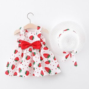 Toddler Baby Kids Girls Outfits Bow Strawberry Princess Dress Hat Outfits Clothes Sets 2020 New Summer Clothes Roupa Infantil