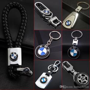 Couro Metal 3D Car Logo Cadeia Chaveiro Chaveiro Para BMW Auto Key Chaveiro Automotive Keyfob Pingente Acessórios Car-estilo do carro