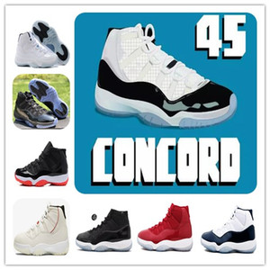 Avec la boîte 11 concorde 45 Bred XI Platinum Teinte Chaussures de basket Gym Red Prom Night Win Comme 96 82 Hommes Femmes Sports Sneakers 378037-100