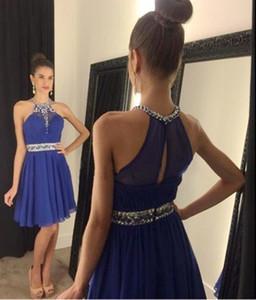 Neue Ankunft Kurze Halfter A-Line Heimkehrkleider mit Perlen Kristall Royal Blue Chiffon Prom Staffelungskleid