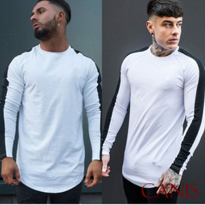 Hiphop T-shirts Mode Hommes Printemps Designer Tshirts À Rayures O-cou À Manches Longues Tops Sport Casual Fitness Tees