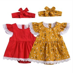 Girls Designer Clothes Kids Floral Printed Lace Clothing Sets Baby Dresses Jumpsuit Headband Suit Child Summer Fly Sleeve Bodysuit AYP448