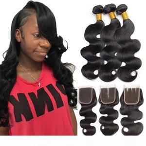 3 Tessiture umani Bundle Body Wave capelli con stili di chiusura reale estensioni dei capelli umani non trattati dell'onda del corpo di Weave economico brasiliana dei capelli B