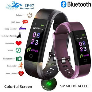ID115 plus Smart Bracelet Fitness Tracker Step Counter Activity Monitor Band Heart Rate Blood Pressure Monitor Wristband for Iphone Android