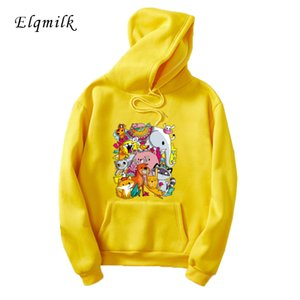 2020 Spring Men Women Hoodies Cartoon Animal Printed Sweatshirt Harajuku Streetwear Couple Casual Loose Tops Pulllover Unisex