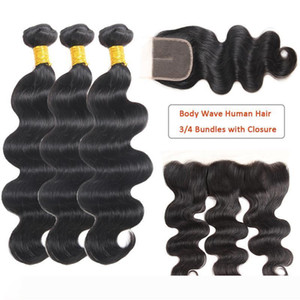 A Mink Brazilian Human Hair Body Waves Bundles with Frontal Human Hair Wet Wavy Bundles with Closure Brazilian Hair Weave Extensions