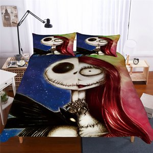 3D Bedding Set Queen Size Nightmare Before Christmas Bedding Skull King Size Duvet Cover Sets with Pillowcase Cover
