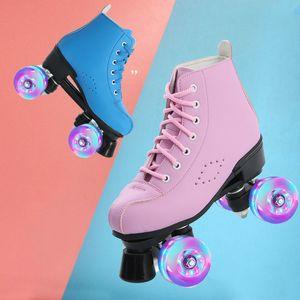 2020 New Mikrofaser Leder Roller Skates einen Mann eine Frau im Freien Skating-Schuhe 4-Rad Patines Blau Rosa 34-44 Europa-Größe
