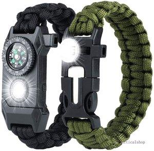 Acil Paracord Bilezik - SOS LED Işık ile Taktik Survival Dişli Takımı, Bigger Pusula, Paslanmaz kavgacı, Flint Yangın Starter, Düdük