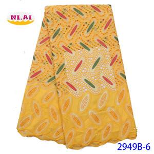 NIAI Африканская кружевная ткань 2019 высококачественный хлопок нигерийские кружевные ткани Brode Suisse Swiss Voile Lace In Switzerland XY2949B-6