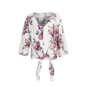 الصيف إمرأة عارضة الأزهار المطبوعة V الرقبة بلوزة نصف كم السيدات القوس التعادل ربط الحذاء حتى فضفاض ملابس وأزياء اليومي القمم جديد