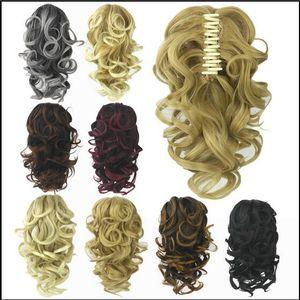 8 Color Rizado Fibra de alta temperatura Pelo sintético Cola de caballo Cola de cabello Rubio gris Clip En la garra del pelo