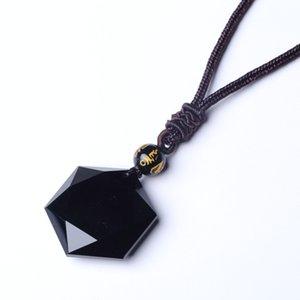 QIANXU schwarzer Obsidian Six Awn Stern Halskette Obsidian Stern Schmuck Obsidian Jade Schmuck Fine Jewelry