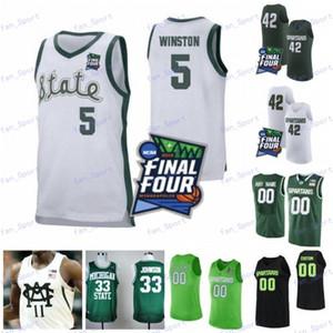Personalizzati Michigan State Spartans 2020 MSU di basket Verde Bianco Nero qualsiasi nome Numero 5 Cassius Winston 23 Xavier Tillman Kithier Jersey