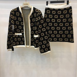 2019 O Neck Langarm Brief Mantel Und Für Frauen Marke Gleichen Stil 2 Stück Sets Fashion Röcke 2 Stück Sets 091114